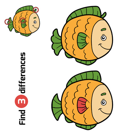 guess: Find differences, education game for children (fish)