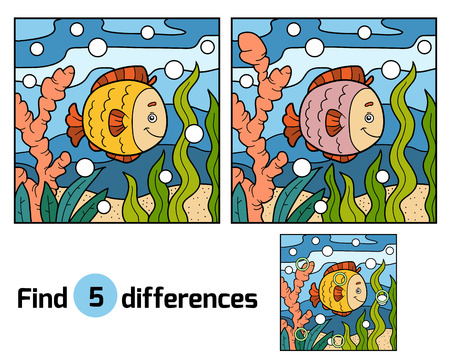 spot: Find differences, education game for children (fish and background)