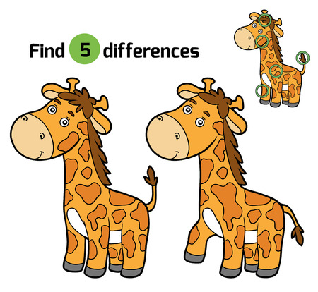 differences: Find differences, education game for children (giraffe)