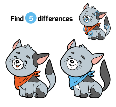 Find differences, education game for children (gray cat)