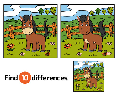 Find differences, education game for children (horse and background)