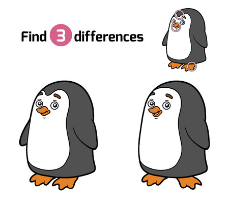 Find differences, education game for children (penguin)