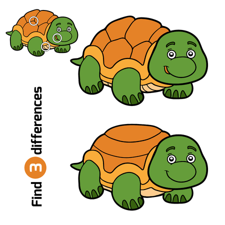 children turtle: Find differences, education game for children (turtle)