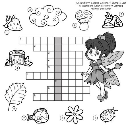 Vector Schwarz-Weiß-Kreuzworträtsel, Bildung Spiel für Kinder über die Natur