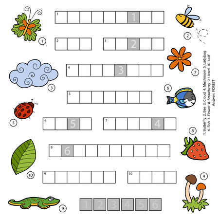 colorless: Vector colorful crossword, education game for children about nature