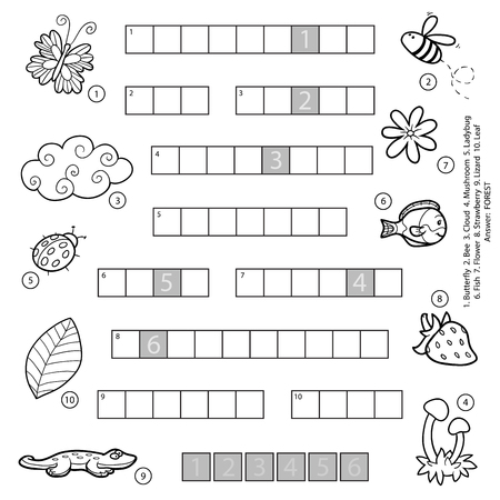 Vector black and white crossword, education game for children about nature