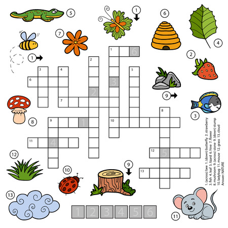 crossword: Vector colorful crossword, education game for children about nature