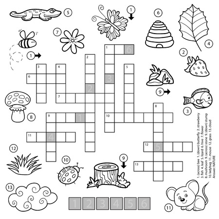 crossword puzzle: Vector black and white crossword, education game for children about nature