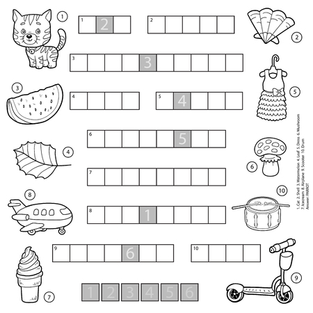 Vector black and white crossword, education game for children