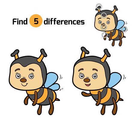 differences: Find differences, education game for children (bee)