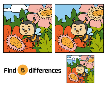 hexapod: Find differences, education game for children (bee and background)