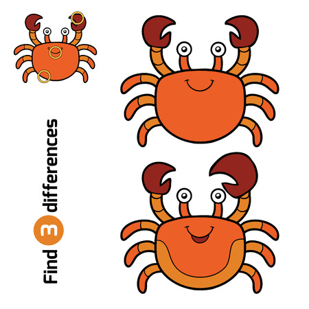 children crab: Find differences, education game for children (crab)