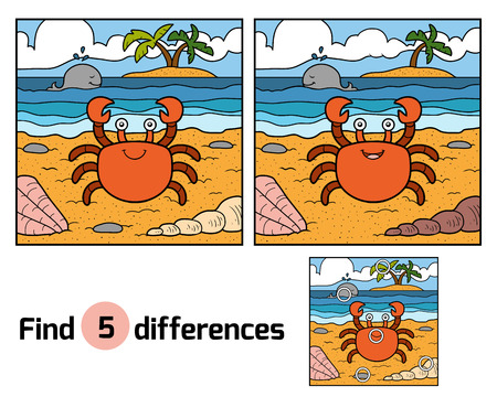 children crab: Find differences, education game for children (crab and background) Illustration
