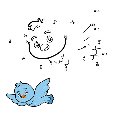 game bird: Numbers game, education game for children, dot to dot game (bird) Illustration