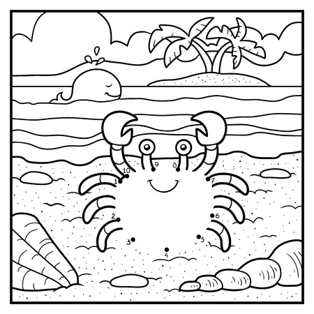 sea beach: Numbers game, education game for children, dot to dot (crab and background)