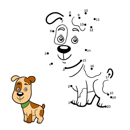 game dog: Numbers game, education game for children, dot to dot game (dog) Illustration