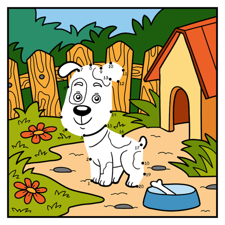 guard house: Numbers game, education game for children, dot to dot (dog)