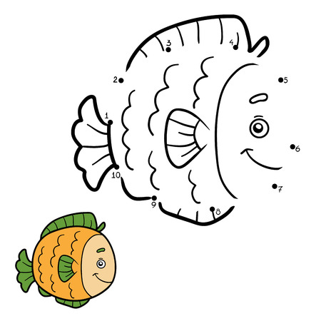 game fish: Numbers game, education game for children, dot to dot game (fish)