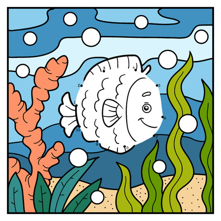 game fish: Numbers game, education game for children, dot to dot (fish and background)