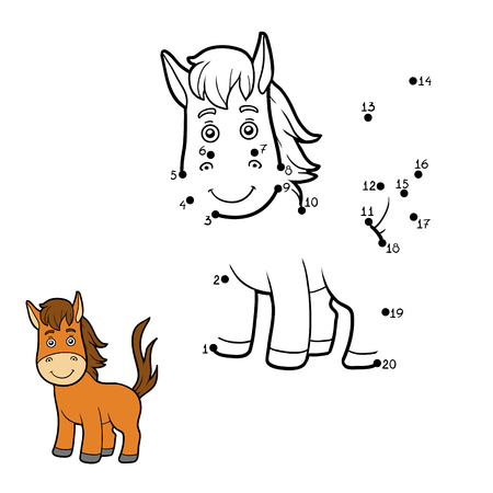Numbers game, education game for children, dot to dot game (horse)  イラスト・ベクター素材