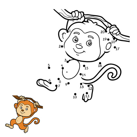 Numbers game, education game for children, dot to dot game (monkey)