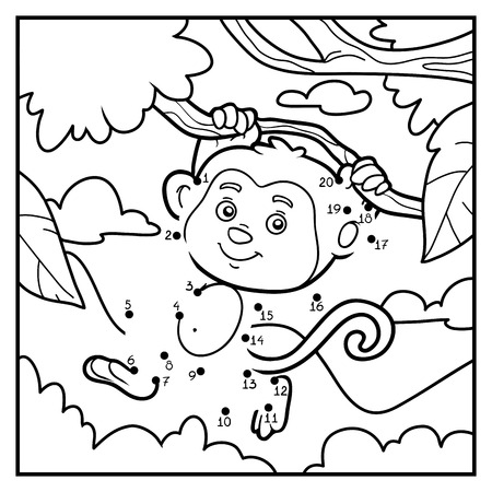 Numbers game, education game for children, dot to dot (monkey and background)