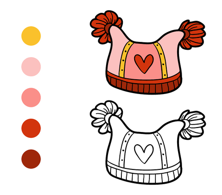 pompon: Coloring book for children, knitted winter hat with heart