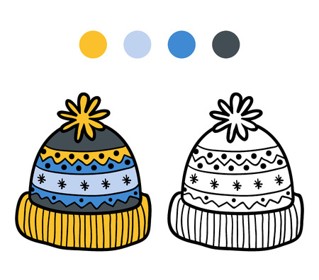pompon: Coloring book for children, knitted winter hat with ornament