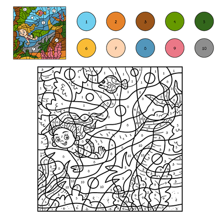 Color by number, education game for children (little mermaid)