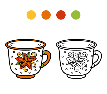 ingestion: Coloring book for children, vector coloring page. A mug with flower