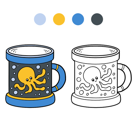 ingestion: Coloring book for children, vector coloring page. A cup with octopus Illustration