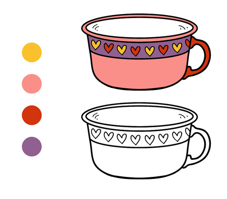 ingestion: Coloring book for children, vector coloring page. A mug with heart pattern