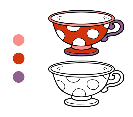 ingestion: Coloring book for children, vector coloring page. A mug with polka dots