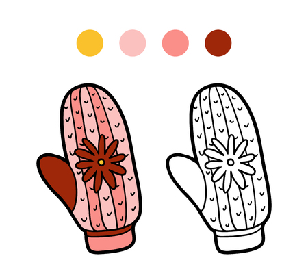 mitten: Coloring book for children, coloring page, knitted mitten with flower Illustration