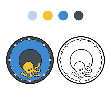 ingestion: Coloring book for children, vector coloring page. A plate with octopus