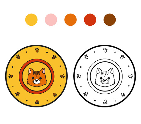 ingestion: Coloring book for children, vector coloring page. A plate with cat Illustration