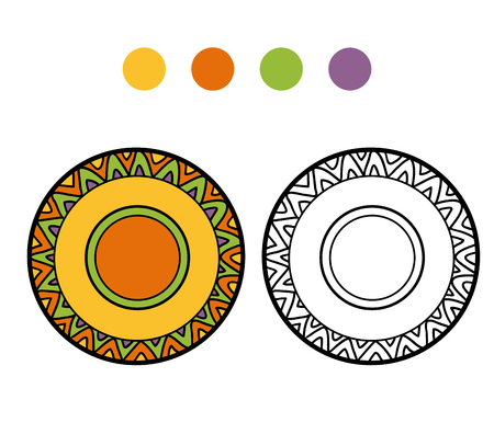 ingestion: Coloring book for children, vector coloring page. A plate with geometric pattern Illustration
