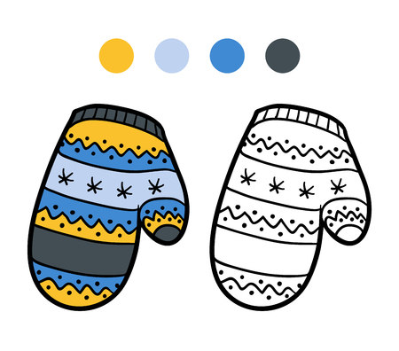 mitten: Coloring book for children, coloring page, knitted mitten with winter pattern Illustration