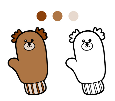 mitten: Coloring book for children, coloring page, knitted mitten with bear