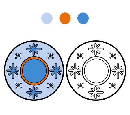 ingestion: Coloring book for children, vector coloring page. A plate with winter pattern Illustration