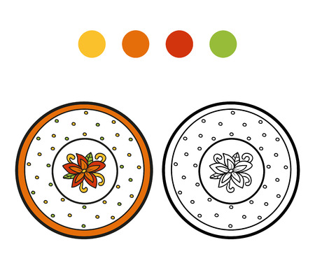 ingestion: Coloring book for children, vector coloring page. A plate with flower Illustration