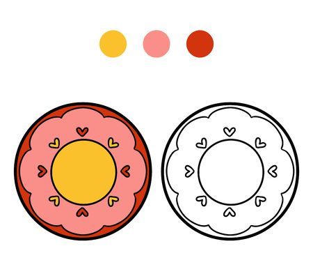ingestion: Coloring book for children, vector coloring page. A plate with heart Illustration