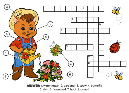 crossword puzzle: Vector color crossword, education game for children. Cat gardener watering flowers Illustration