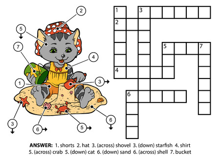 Vector color crossword, education game for children. Cute cat sitting on the beach and building sand castles