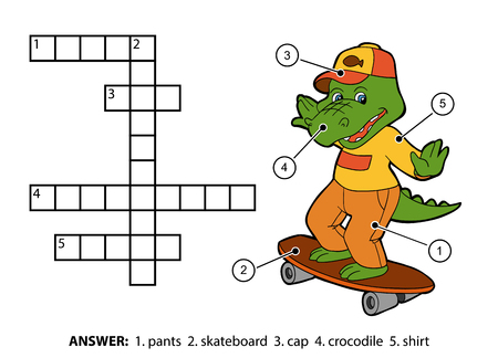 crossword: Vector color crossword, education game for children. Cheerful crocodile on a skateboard Illustration