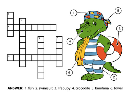 crossword: Vector color crossword, education game for children. Cute crocodile swimmer with lifebuoy