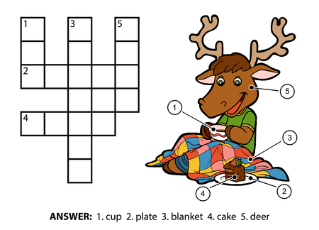 blanket: Vector color crossword, education game for children. Cute deer drinking tea and eating cake