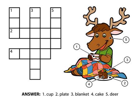 crossword: Vector color crossword, education game for children. Cute deer drinking tea and eating cake