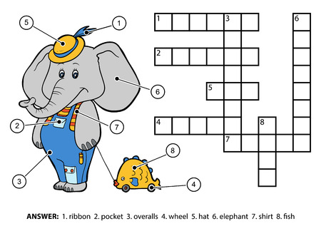 number of animals: Vector color crossword, education game for children. Cute elephant with a toy on a string Illustration
