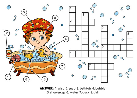 keywords bubble: Vector color crossword, education game for children. The girl takes a bath with foam Illustration